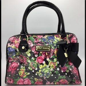 Betsey Johnson Floral Fabric Clear PVC Boston Bag